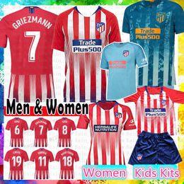 Argentina 2019 Atlético GRIEZMANN Camiseta de fútbol de Madrid KOKE SAUL GODIN TORRES CORREA Costa Luis GABI Gimenez THOMAS Kits infantiles Mujeres Hombres camiseta de fútbol Suministro