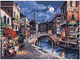 "Pintura a óleo da lua on-line-Pintura diy by numbers kits pintura pintados à mão adulto óleo paint-moon noite cidade antiga 16 ""x 20"""