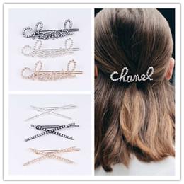 2019 diadema de plástico para niñas grandes accesorios para el cabello Cristal Palabra de las horquillas de la mujer accesorios para el cabello pelo clips Rhinestone Perla Grip Barrettes accesorio de moda Carta