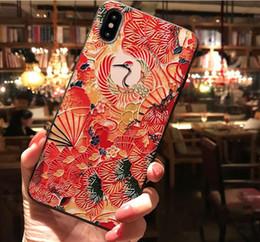Wholesale Applicabile a iphoneX Custodia per cellulare Apple nera opaca cinese e ventilatore gru versione sogno goffrato guscio di telefonia mobile all ingrosso