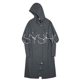 coats threads Promo Codes - Even Hat Windbreaker Long Loose Coat Woman Season Chic Street Easy Split Joint Thread Pleat