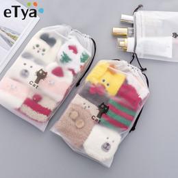 2019 sacchetti di stoccaggio chiari eTya Women Clear Cosmetic Bag Organizer da viaggio PVC trasparente Coulisse Borse Borse per il trucco Custodia da toeletta sconti sacchetti di stoccaggio chiari