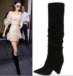 d316c0808aab Stage runway black Knee high boots women spike high heels Nubuck Leather  Wedge Long Boots Kendall Jenner Same Fashion Boots Plus size 34-43