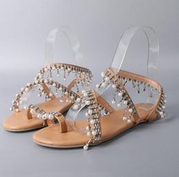 2019 Fashion Summer Woman Shoes Women Sandals Pearl Beads Flats Bohemian Chains Thong Gladiator Sandalias Sapatos Femininos