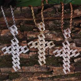 Anhänger Halskette Schmuck Luxusqualität Bling Zirkon Halsketten Mode Männer 18 Karat Vergoldet Geometrische Kreuz Hip Hop Halsketten LN097 von Fabrikanten