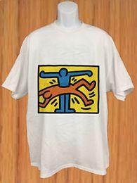 Arte vintage do bebê on-line-~ Vintage Keith Haring Art Baby Crew NeShort-Sleeve T-shirt dos homens EUA Tamanho: S - 3XL