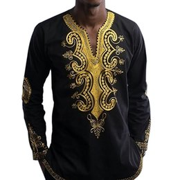 2019 vestiti etnici tradizionali Camicia Dashiki a maniche lunghe Camicie uomo Camicie africane Dashiki Uomo Camicie maschili stampate etniche tradizionali africane sconti vestiti etnici tradizionali