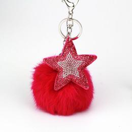 Mode charme strass leder stern pelz anhänger schlüsselbund legierung tasche schlüsselanhänger halter für frauen geschenk souvenir schmuck von Fabrikanten