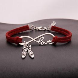 sapatas da dança dos homens vermelhas Desconto Estilo europeu de couro vermelho do vintage banhado a prata amor infinito sapatos de dança charme pulseiras pulseiras mulheres homens fit original diy marca de jóias