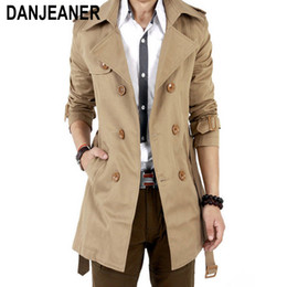 XQS Men Peacoat Casual Double PU Double-Breasted Long Trenchcoats