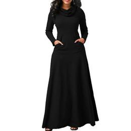 vestido maxi caliente Rebajas Vestido largo de mujer con bolsillo Casual manga larga sólida Vestido largo vintage Cuello de arco Elegante bata cálida Vestidos femeninos
