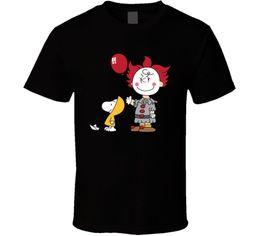 2019 camicie marrone casual Snoopy Charlie Brown Penuts Pennywise Steven King's It Fan Parody T Shirt Divertente spedizione gratuita Unisex Casual top camicie marrone casual economici