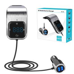 2019 modulateur de radio Transmetteur FM Bluetooth pour voiture Adaptateur radio sans fil AUX Lecteur MP3 Modulateur FM avec mains libres parlant double USB chargeur rapide modulateur de radio pas cher