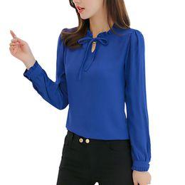 Elegante senhoras blusa stand colar on-line-Primavera Mulheres azul camiseta manga comprida Fique Collar Bow Blusas Elegant Ladies Blusa Chiffon Tops Moda Trabalho escritório desgaste