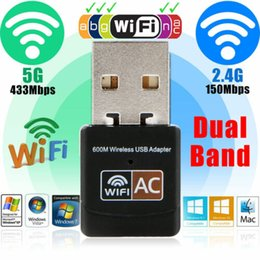 Adattatore a banda doppia online-Adattatore di rete wireless WLAN USB WiFi AC600 WiFi Dual Band Wireless Adapter Receiver Mini USB 802.11n / g / b Dongle veloce 20A04
