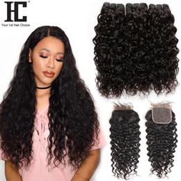 wet wavy hair 22 inches Coupons - Brazilian Water Wave With Closure 3 Bundle Unprocessed Virgin Hair With Closure Wet And Wavy Virgin Brazilian Hair With Closure