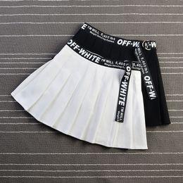 Saia moda harajuku on-line-Harajuku moda alta wasit mulheres saia chique fita dupla zíper estudante plissado saia de segurança calças caixilhos mulheres saias de uma linha