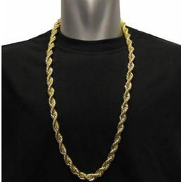 22k chapado en oro online-Collar para hombre chapado en oro de 22 kilates Cadena de giro de cuerda hip hop cubana 30 pulgadas 10 mm