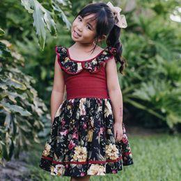 Vestito dal bambino del collare del fiore online-2019 Children's Clothing Baby Girl Halter Sling Flower Print Dress Party Summer Baby Sleeveless Doll Collar Dress Pleated Skirt
