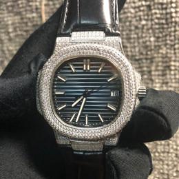 reloj de cocodrilo de lujo Rebajas La mejor calidad Reloj de diamantes Movimiento automático Impermeable Relojes de lujo para hombre 40 mm 5719 Iced Out Watch 9.4mm Correa de cocodrilo grueso