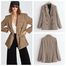 casaco de trabalho bege Desconto 2018 americano novo estilo europeu xadrez duplo breasted mulheres blazer terno jaquetas casacos