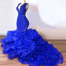 prom plus size feather dress Coupons - Organza Cascading Ruffles Sleeveless Evening Dresses 2019 V Neck Mermaid Plus Size See Through Lace Applique Prom Dress BC1772
