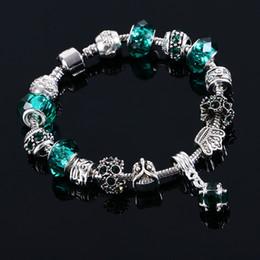 2019 braceletes do projeto elegante Pandora Design Pulseiras Bangles Moda Elegante Do Vintage Coroa de Prata Encantos De Cristal Frisado Presentes Jóias para As Mulheres Meninas Azul Verde Preto desconto braceletes do projeto elegante