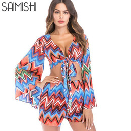 344b7c0aacf Saimishi Fall Women Two Piece Outfits Sexy Deep V-neck Knot Front Wrap Top  And Shorts Set Boho Print Long Sleeve Beachwear