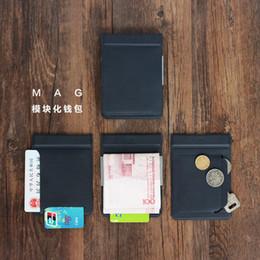 Пластиковый кредитный держатель кошелька онлайн-MAG Модульная Магнитная Комбинация Сплит Пластиковые Кредитные Банковские Карты Держатель Чехол Короткие Мужчины Мужской Дизайн Кошелька и Кошелька