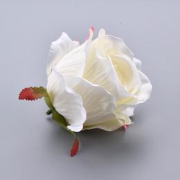 Corona de flores blancas online-30PCS Silk Blooming Pink White Roses Artificial Flower Head para la decoración de la boda DIY Wreath Gift Scrapbooking Big Craft Flower