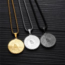 Colgantes redondos online-Unisex Collares pendientes Vintage Mens Gold Link Cadena de Acero de Titanio Ronda Moneda Escritura Collares Regalo de la joyería