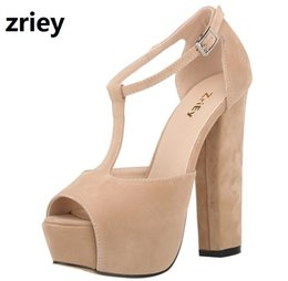 5cf7fba3903 ZriEy chunky high heels ankle strap pumps summer platform shoes woman large  size 35-42 women sandals candy bride party BY17866 discount chunky heeled  orange ...