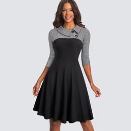 Vestidos de mujer de negocios equipados online-Mujeres Vintage Fit y Flare Swing Skater Work Business Office Party Casual Dress Ha136 Y19071001
