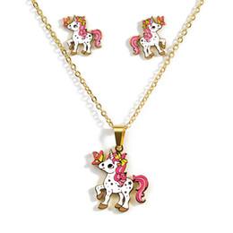 2019 einhornohrringe großhandel Cartoon Rosa Pferd Einhorn Design Emaille Gold Halskette Ohrringe Set Ohrringe Schmuck Geschenk Kinder großhandel rabatt einhornohrringe großhandel