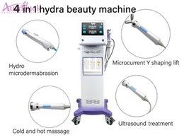 Massaggio libero caldo online-Eu Tax Free Hydra Dermabrasion Microcurrent Y Shpe Facial Ultrasound Therapy Cooling Hot Massage Beauty Equipment CE