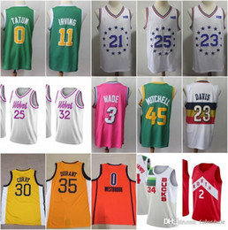 cec6ae951fb 2019 New Earned Edition 0 Tatum 11 Kyrie Jayson Irving Jersey 30 Curry 35  Kevin Stephen Durant 3 Wade 34 Giannis Dwyane Antetokounmpo