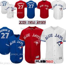 Bolas azuis on-line-Camisolas de Toronto Blue Jays 27 Vladimir Guerrero Jr. Camisola de basebol 11 Kevin Pillar 6 Marcus Stroman 12 Alomar 2019 Melhor venda Jersey