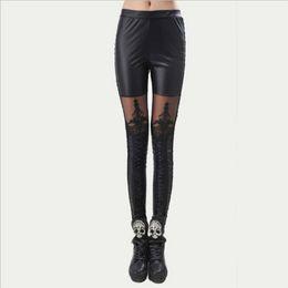 Перевязанные черные гетры онлайн-Sexy Women Black Faux Pu Leather Legging Autumn Floral Lace Bandage Push Up Leggings Lady Skinny Slim Stretchy Plus Size Legging