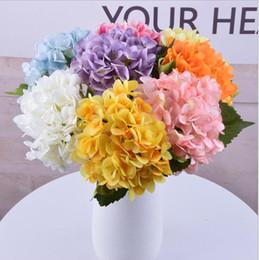 Piante artificiali di ortensia online-Artificiale Hydrangea Flower Falso Singolo Wedding Party Hydrangea Bouquet Faux Fiori Fiori Piante fiore 16 colori KKA6759