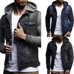 Giacca in denim del manicotto online-New Stitching Knit Sleeves Hooded Slim Casual Jacket Jacket Denim Blu Nero Grigio Giacca Uomo Softshell Uomo Jean