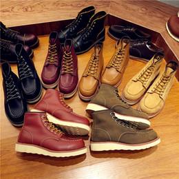 botines masculinos vintage Rebajas Zapatos de los hombres de la vendimia con cordones de cuero genuino botas ala hombre trabajo hecho a mano viajes boda botines tobillo moda casual botas rojas 875