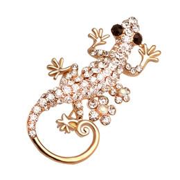 piedini gecko Sconti New Bling gecko di cristallo pieno spille animale Pins spilla distintivo zaino camicia collare decorazione donna uomo gioielli regalo accessori