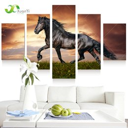Horse Decorations For Home 2019   Ome Decor Painting Calligraphy 5 Panel  Running Horse Wall Art