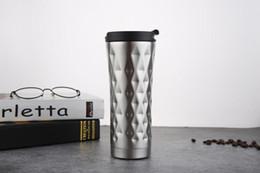 Diamant de thé en Ligne-Tasse de café de diamant créative de 18 onces avec des couvercles Tasses à thé en lait de tasse de cadeau faites sur commande d'acier inoxydable de couvercles en acier inoxydable ventes chaudes