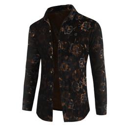 2019 winterhemden design für männer 2019 Fashion Design Herrenbekleidung Herbst Winter Langarm Herren High Quality verdicken Flower Party Wild Joker Square Neck Shirt günstig winterhemden design für männer