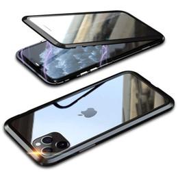 2019 capas iphone dobro claro Para iPhone 11 Pro i11 Max i11pro Caso Tampa de 360 completa Protector Corpo Alumínio Metal Frame magnético absorvido Double Side vidro temperado desconto capas iphone dobro claro