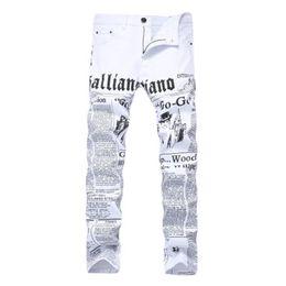 Jeans reta alta cintura homens on-line-Jeans Men Branco Carta de impressão do algodão Pants alta elasticidade Magro Jean Lavados mediana cintura reta Zipper Calças Casual 28-42