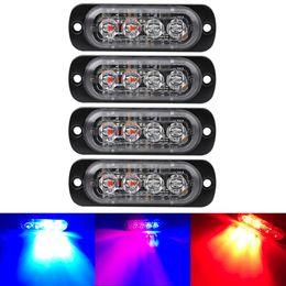 Baliza estroboscópica de emergencia online-Blanco brillante Amarillo Rojo Azul Ámbar 4 LED del coche camión de Van Beacon Strobe el testigo parpadea la lámpara del coche-Styling luz de emergencia