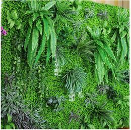 Planta artificial online-Medio ambiente césped artificial césped artificial simulación planta de pared exterior hiedra valla arbusto planta paredes para el hogar jardín decoración de la pared