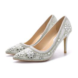 2019 femmes bout pointu paillettes strass 9 cm talon aiguille haut talon 7 cm robe argent pompes dames femme mariage mariée partie demoiselle d'honneur chaussures ? partir de fabricateur